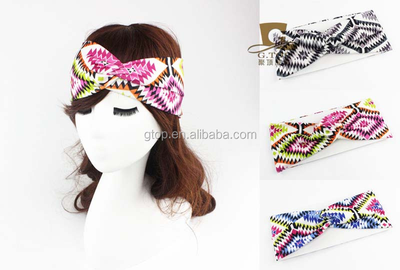Twisted Knotted Knot Soft Hair Band Bohemian teeth pattern <strong>headbands</strong> SH-35