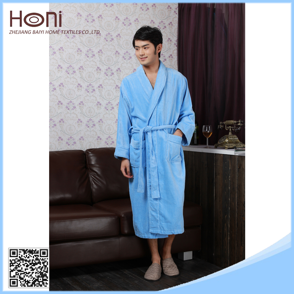 Mens Long Dressing Gown Plain Woven Men Cheap White Cotton Hotel Bathrobe 9ea6ae25e