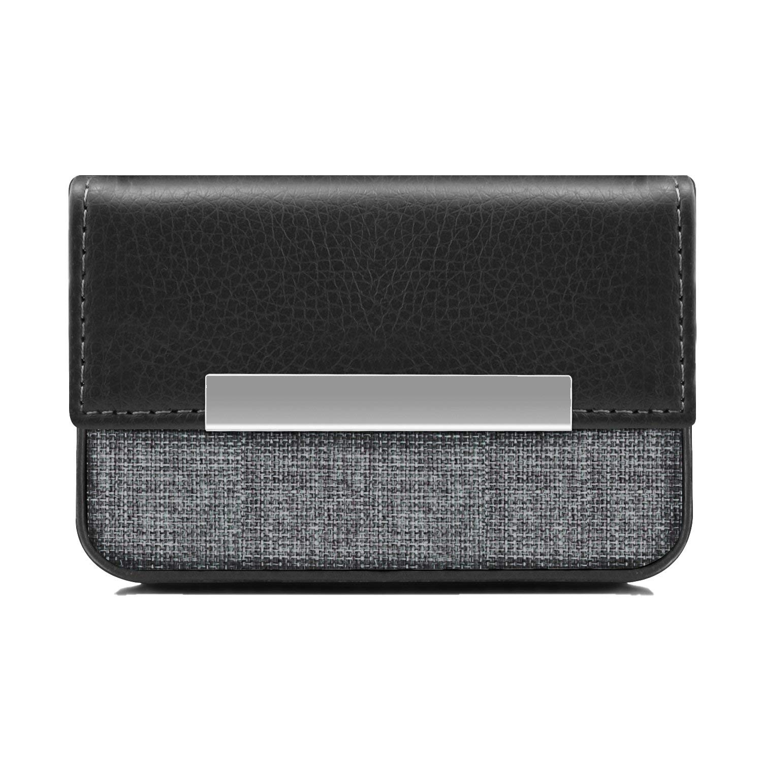 MaxGear Business Card Case Fashion PU Leather Business Card Holder with Magnetic Shut, Holds 25 Business Cards, Black
