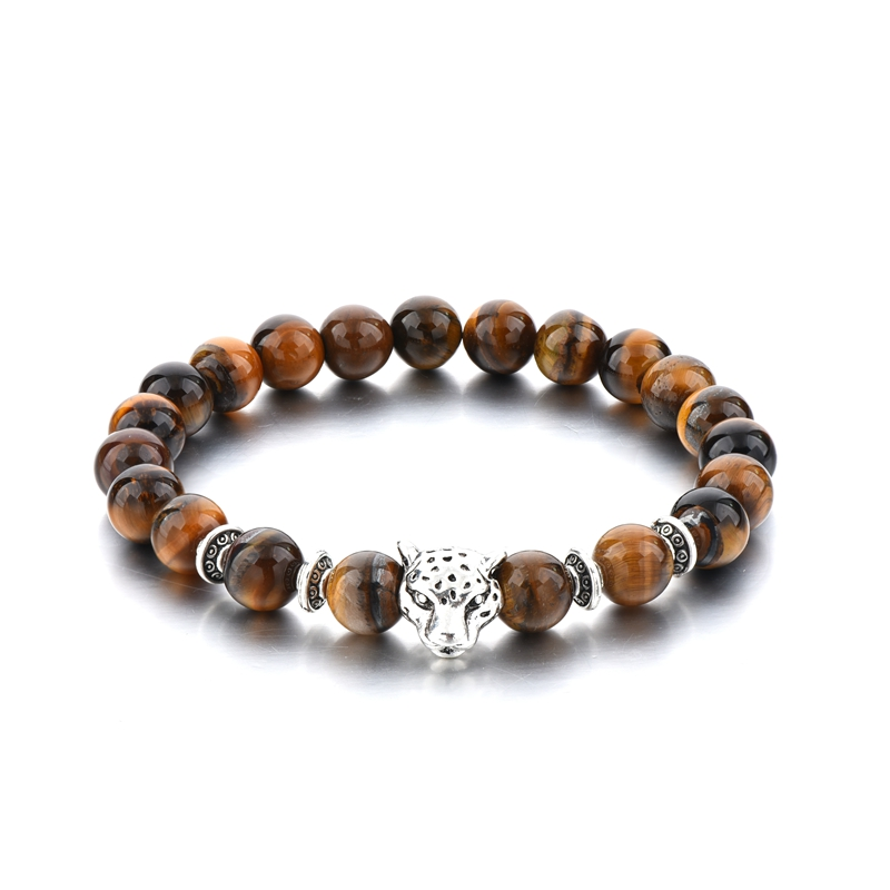 Hot selling leopard with brown stone bracelet for men, tiger eye stone and zinc silver alloy animal charm bracelet
