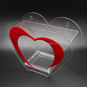 Fixture Lucite Charity Display Case Clear Heart Shaped Acrylic Donation Box