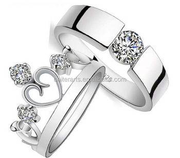 925 Sterling Silver Crown Simple Cz Tension Setting Diamonds Wedding