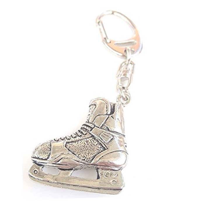 Newest unique ice skate zinc alloy metal keychain skateboard keychain