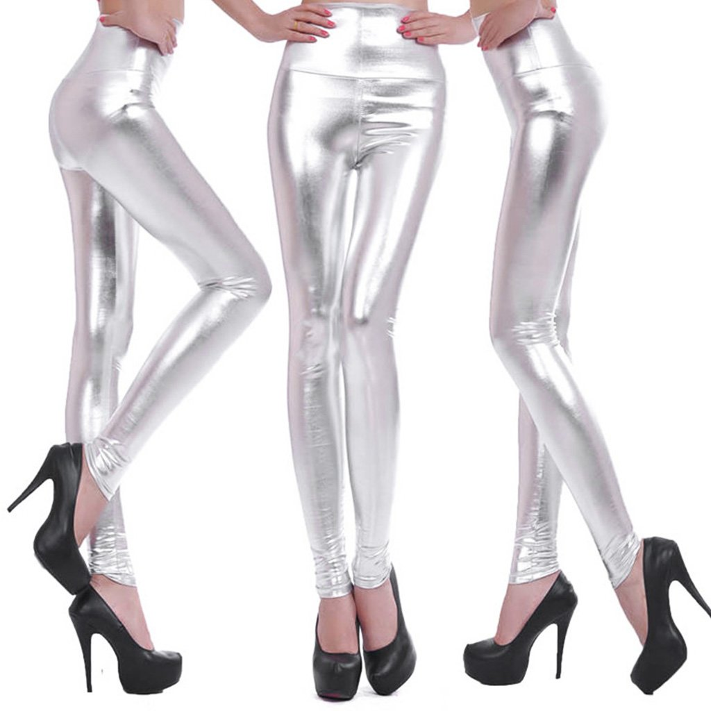 19914306c1 Get Quotations · Fang Sky Women thermal underwear Shiny Silver Gold Leggings  High-Waisted Faux Leather Stretch Pencil