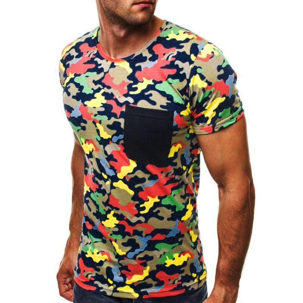 2695c55633a Get Quotations · Auwer-Men s Tee Personality Camouflage Men s Slim Fit O  Neck Short Sleeve Muscle Tee Shirts