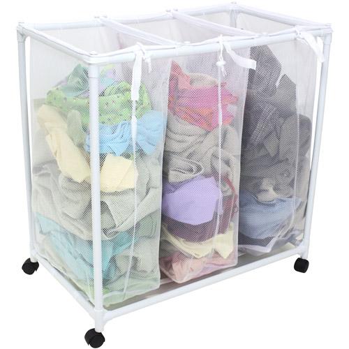 3 Compartments Fabric Mesh Laundry Hamper Basket