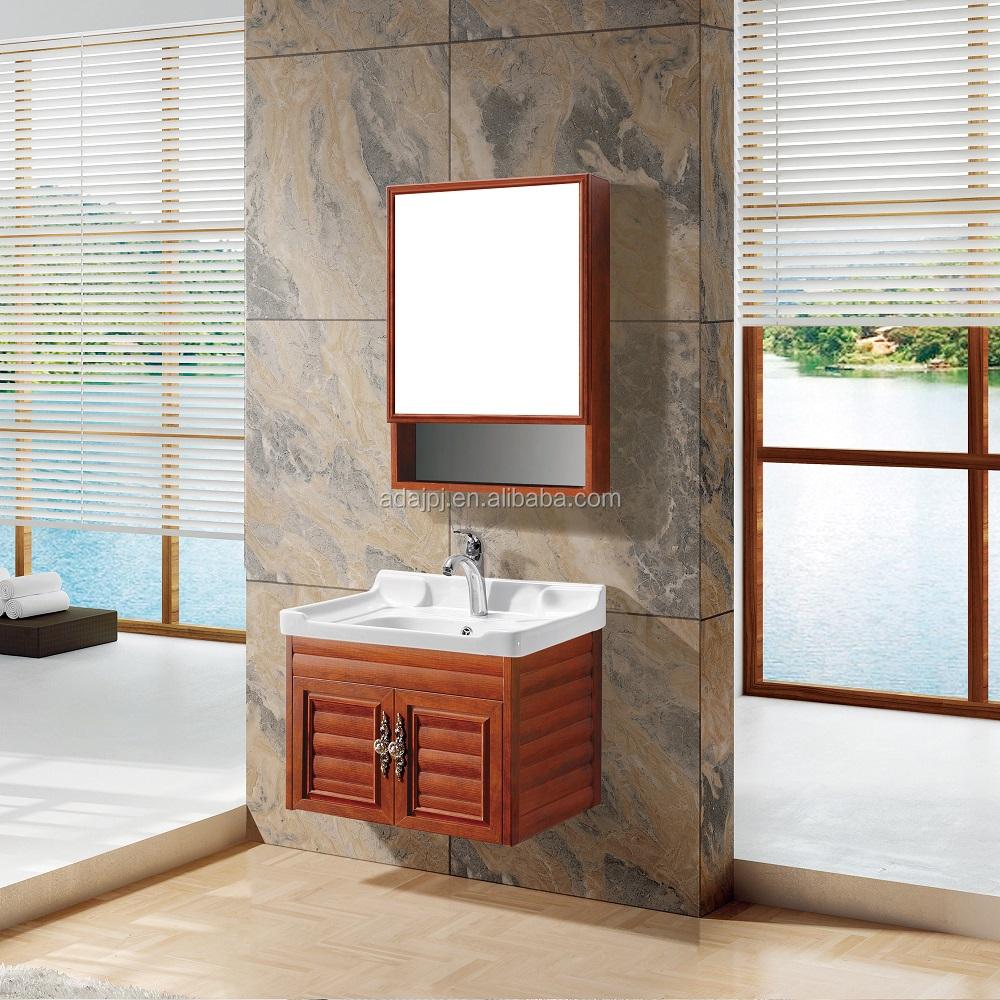 colgado de la pared moderna de aluminio color madera bao gabinete de la vanidad con el