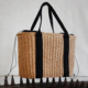 Large capacity women handmade summer paper straw beach tote bag ladies natural straw shopping bag