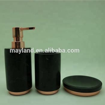 Rose Gold Onda Black Real Marble Bath Lotion Pump Soap Dispenser Bathroom Accessory Set