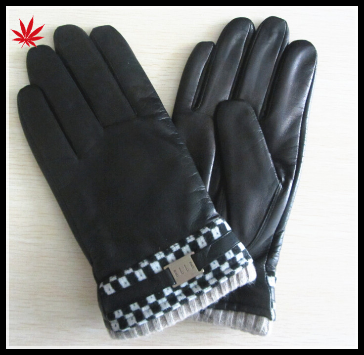 men 's long warm winter genuine leather gloves with belt