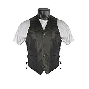 Braided Biker Leather Vest with Side Laces and Gun Pockets 62