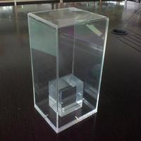 Very thick transparent acrylic perpex plexiglass box with block base inside
