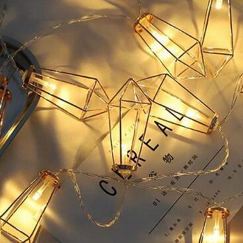 Birthday Party Decorativeled Decorative String Lights Iron Drop Rose Gold Geometric Led Fairy For