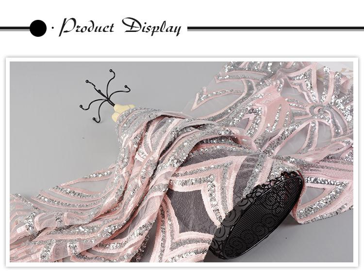 Good quality Oem accept comfortable mesh sequin indian lace embroidery fabric feather