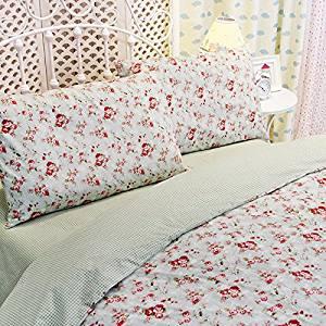 5f0c8e4eff Sisbay Girls Floral Bedding,Vintage Rose Rural Duvet Cover,Kids Princess  Chic Bed Set, King Size Bed Sheet,4pcs
