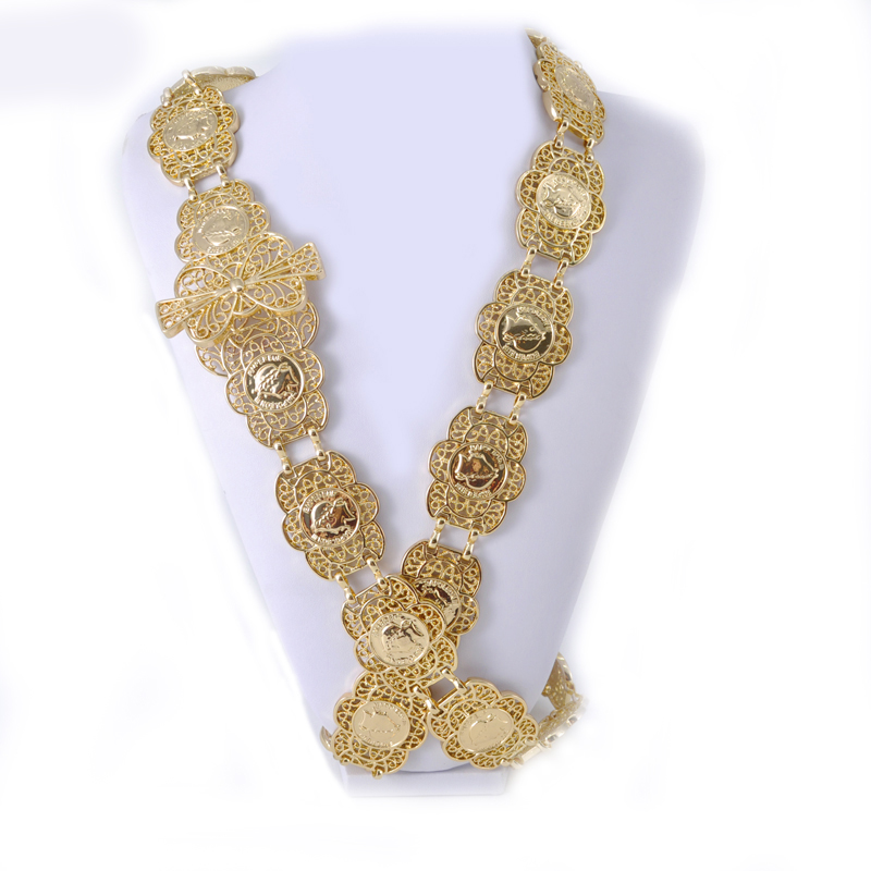 Muslim Coin Design Hollow Out Waist Chain New Golden Flower Belly Chains Jewelry Belts
