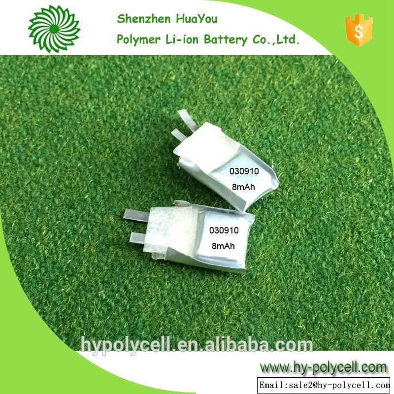 030910 3.7v 8 mah ultra thin li-polymer battery for special applications
