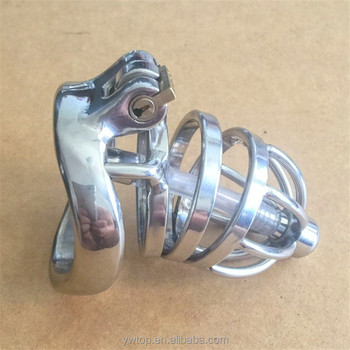 stainless steel male chastity cock cage with padlock