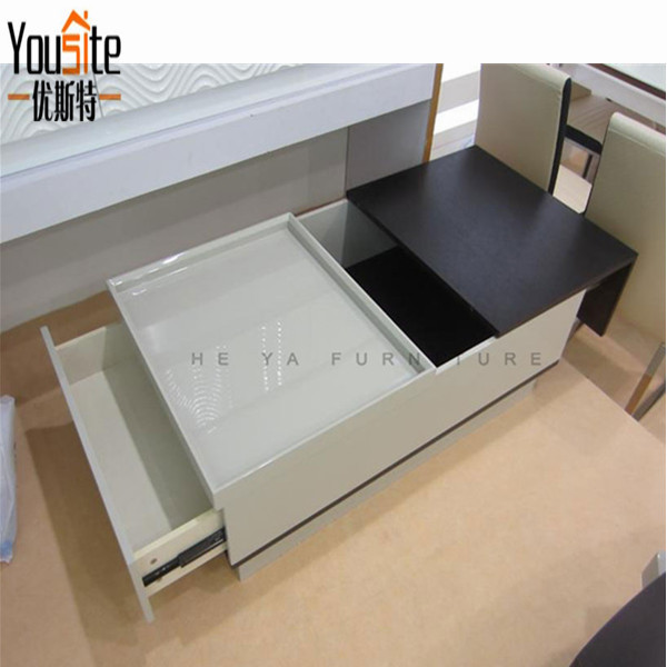 Mdf Multifunctional Wooden Square Expanding Coffee Table