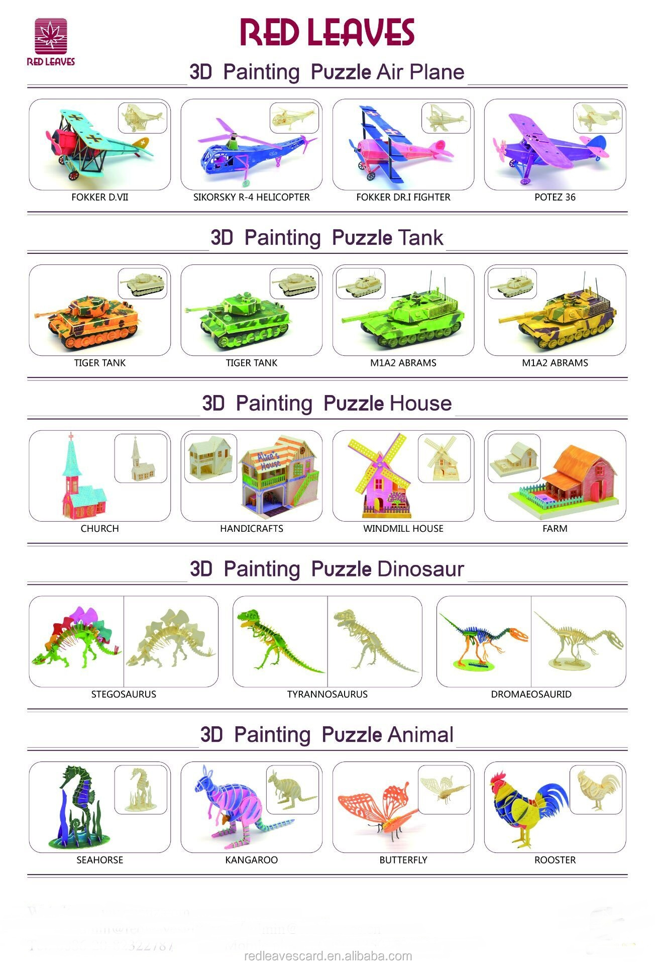 Fancy Design Toy Diy Custom  3D Puzzle Dinosaur Gift Paper Puzzle Craft  for Children
