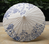 Chinese Blue and White Porcelain Paper Umbrella Japanese Style Oiled Paper Parasol Pink Female Wedding Cosplay Props