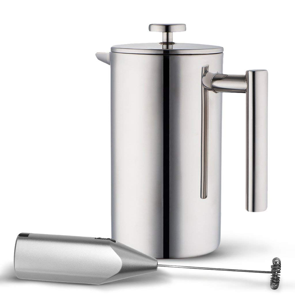 Double Wall Tea & Coffee Brewer | Stainless Steel Coffee Pot & Maker - French Press 1 Liter 34 Oz Coffee Pot with Bonus Milk Frother | by MIRA