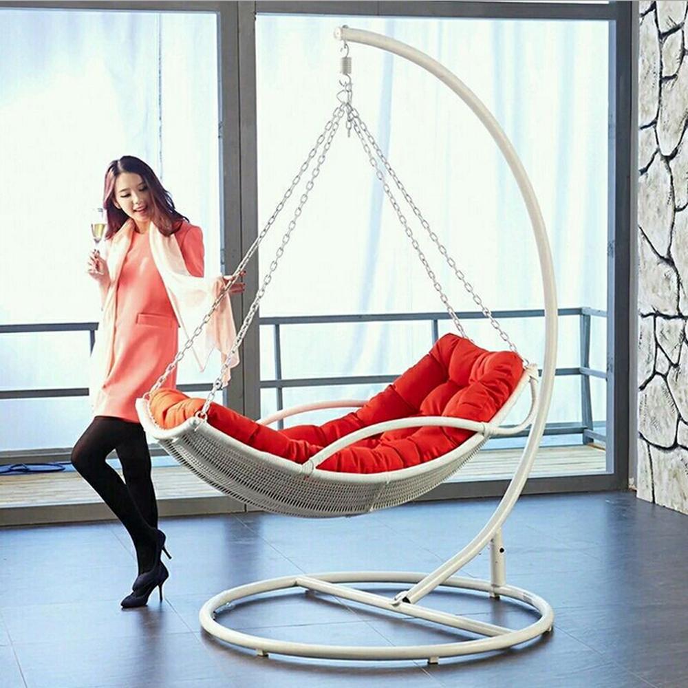 paresseux hamac rotin balan oire suspendue chaise en fer forg stand en plein air patio. Black Bedroom Furniture Sets. Home Design Ideas