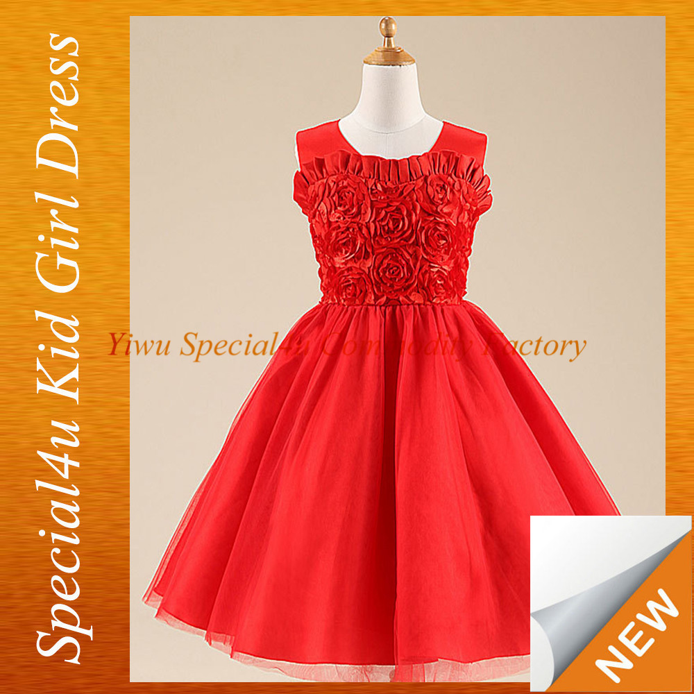 2015 Fashion Design Baby Child Red Rose Flower Design Dress Long ...