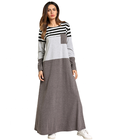Muslim Womens Loose Pocket Striped Dresses Casual Gray Islamic Knee-Length Dress