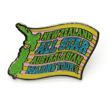 Customized NEW ZEALAND ALL STAR soft enamel with epoxy glitter pin badge