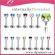 316Lstainless steel internally threaded lip piercing 16g Prong Set CZ Gem Labrets