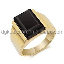 2016 new fashion design stainless steel gold ring hallmarks with black stone