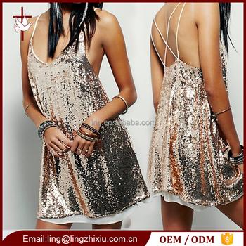 3be8f384294 Модные спинки Hot Sexy Короткое платье клуба блестящие золотые блестки  платье
