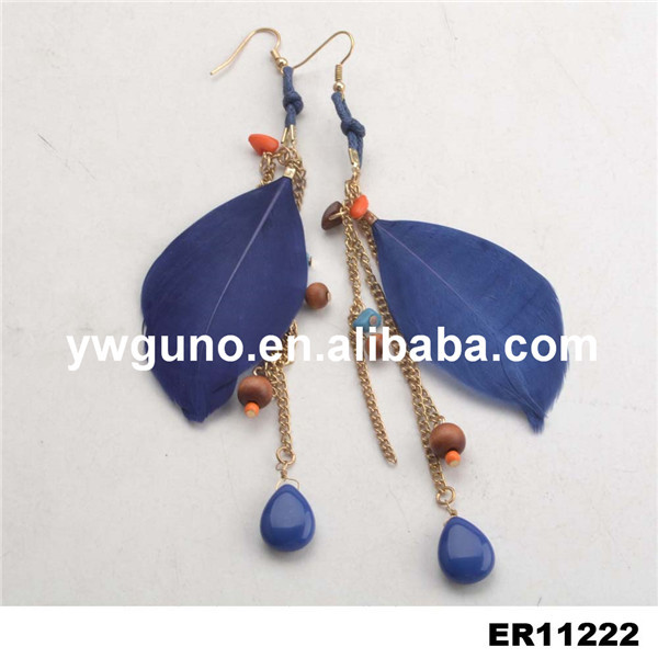 jewelry manufacturer china wooden bead feather tassel fashion earring
