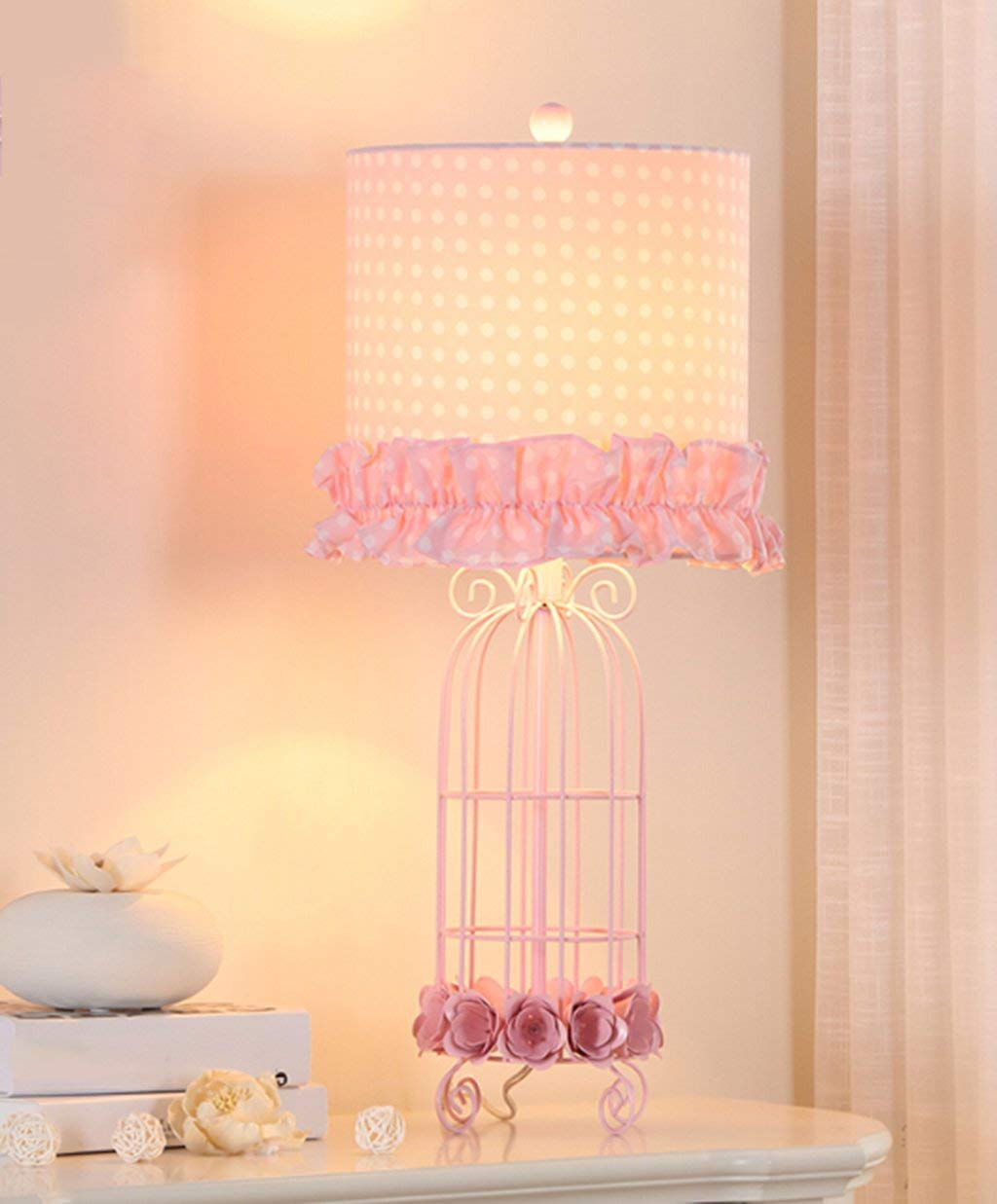 Hjer Creative Bedroom Lamp Bedside Counter Lamp Modern Wrought Iron Bird Cage Creative Simple And Warm Cute Girl Princess Bedside Lamp 6417.5Cm E27
