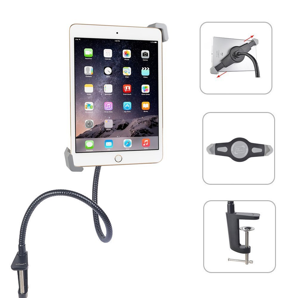 """Gooseneck Tablet Stand iPad Holder Mount, ieGeek 360° Rotating Flexible Adjustable Hands-free Bolt Clamp Stand Universal Clip-On Bed Lazy Mount for iPad/Galaxy Tab/Google Nexus/ Other 7""""-11"""" Tablets"""