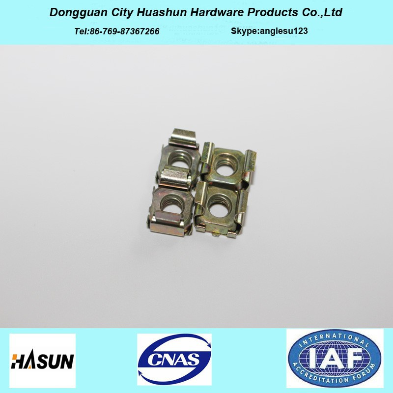 Yellow Zinc Plated Spring Steel Square Lock Cage Nut With Competitive Price