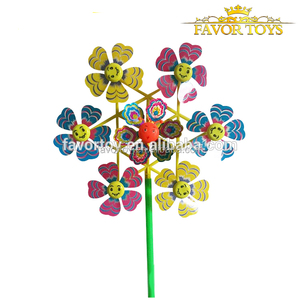 Kids classical DIY toy colorful sunflower plastic windmill