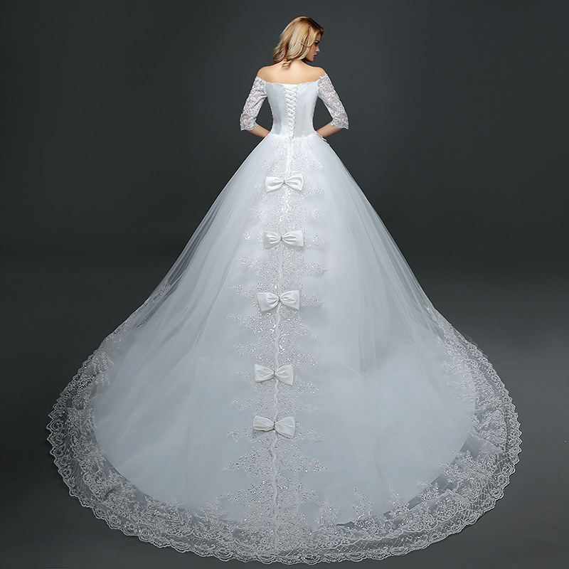 Hot Sale Classic Summer Lace Tulle Bride Dress With Long Tail Half Sleeve Korean Style Wedding Gown Buy Lace Half Sleeve Wedding Dressesball Gown