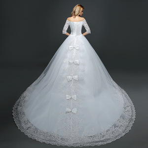 Hot Sale Classic Summer Lace Tulle Bride Dress with Long Tail Half sleeve Korean Style Wedding Gown