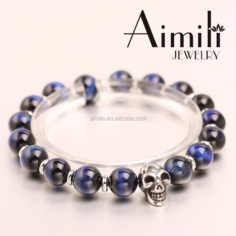 SK40 Fashion Mens Skull Bracelets With Blue Tiger Eye Beads / Custom Company Logo Ball