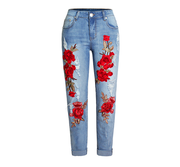 Hohe Taille Rose Stickerei Denim Jeans Frauen