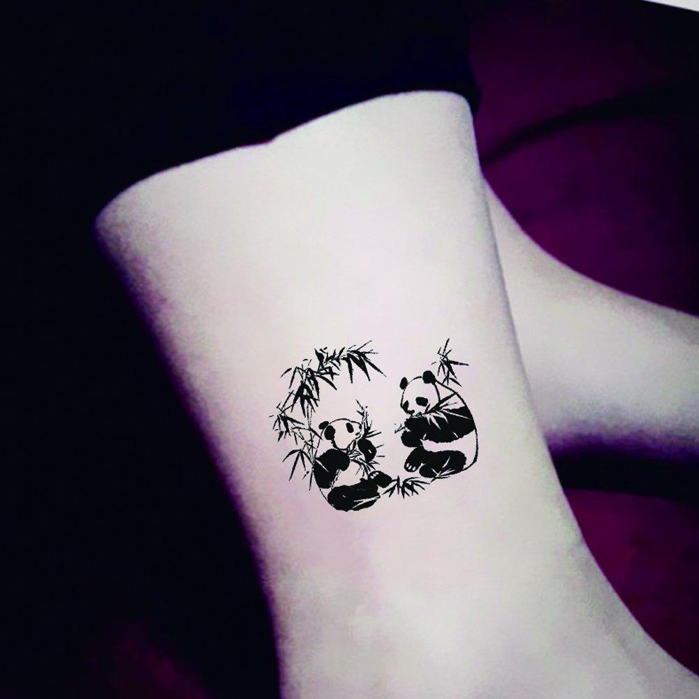 88cd06f71 Get Quotations · TAFLY Cartoon Cute Emotion Chinese Panda Temporary Tattoo  Sticker Body Art Water Transfer Fake Tattoos 5
