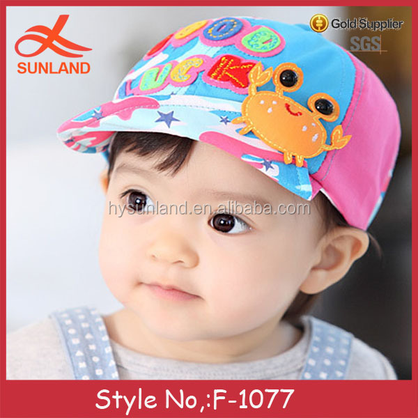 F-1077 new wholesale OEM custom kids 3D small crab hats baseball caps
