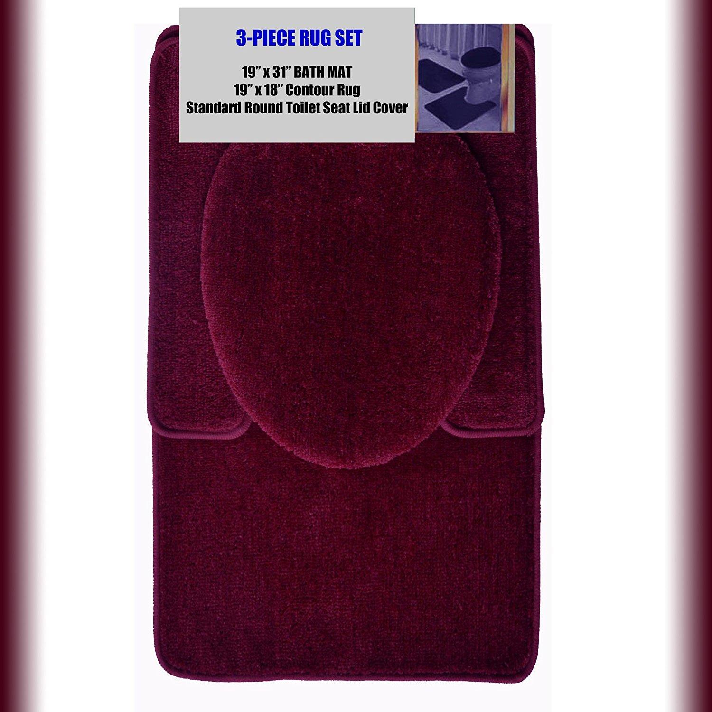 "BURGUNDY 3-Piece Bathroom Set: 1-19"" x 31"" Bath Mat/Rug, 1-19"" x 18"" Contour Mat/Rug, 1-Toilet Seat Lid Cover-Standard Round. Non-Slip/Non-Skid."