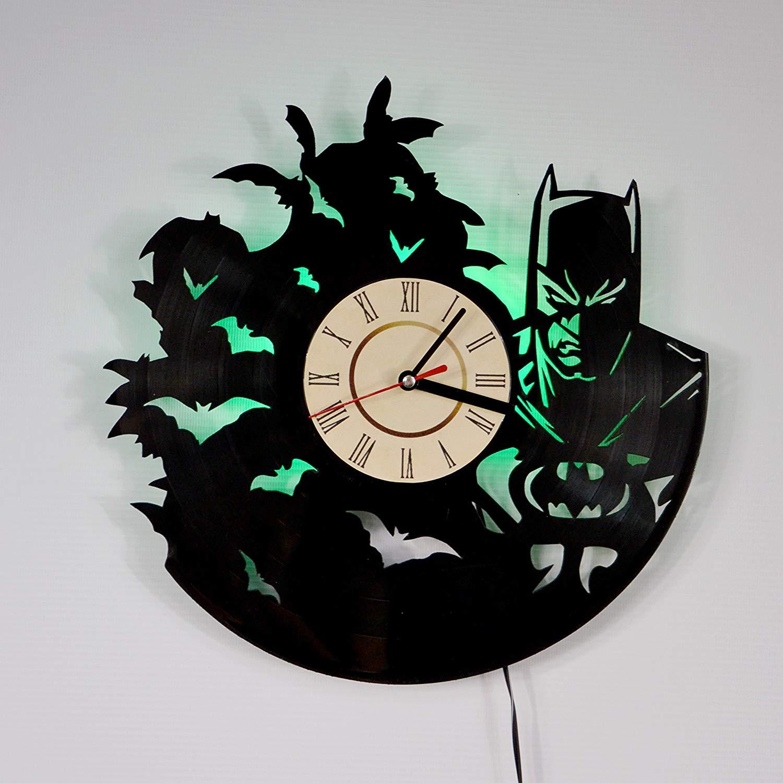 Batman MOVIE GREEN LED Vinyl Clock Night Light Night Lamp I Love Led Vinyl Clock Wall Light Backlight Color Remote Controller Vintage Handmade Home Decor Art Decorative Wall