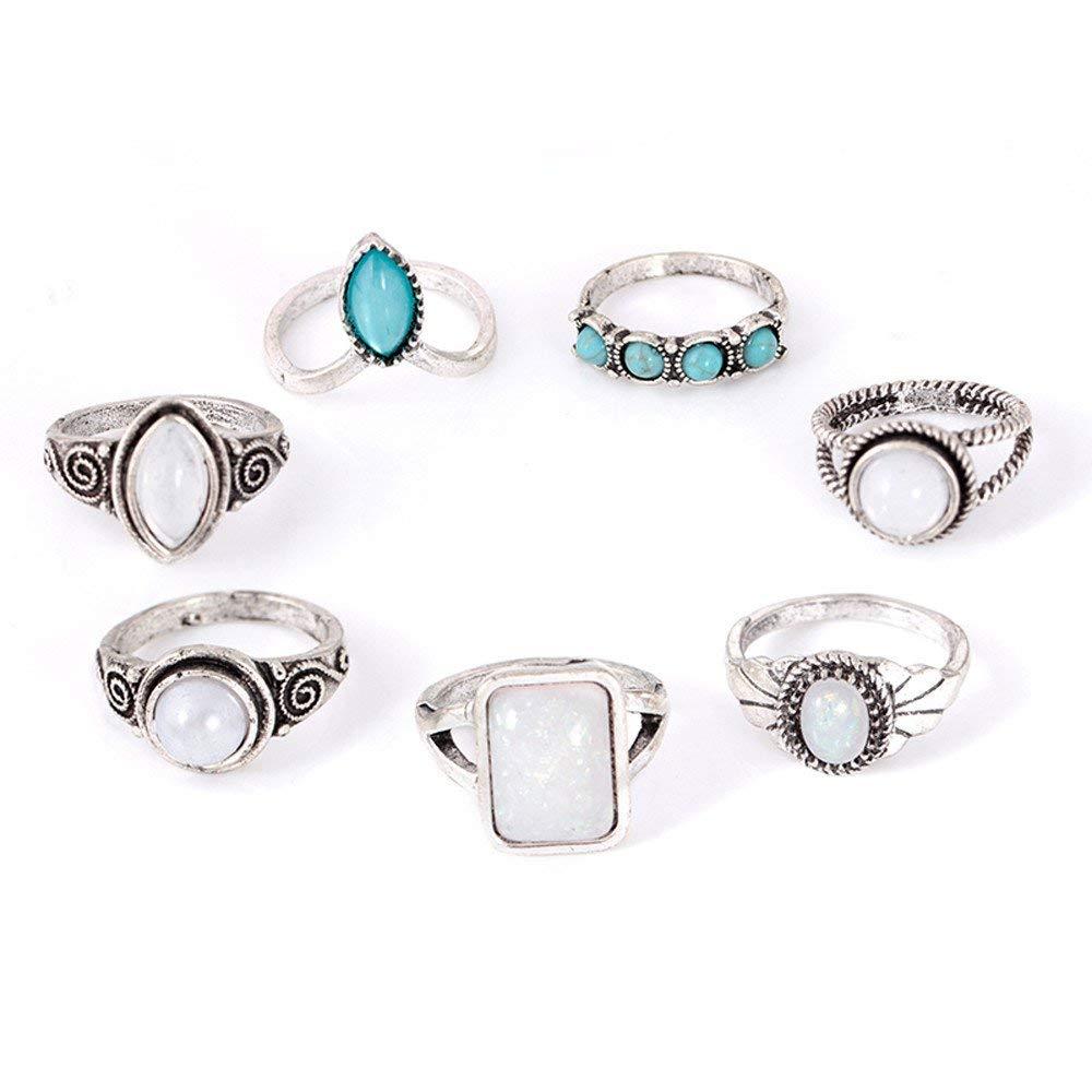 Retro Ring, Hoshell 7pcs/Set Women Bohemian Vintage Opal Stack Rings Knuckle Blue Rings Set