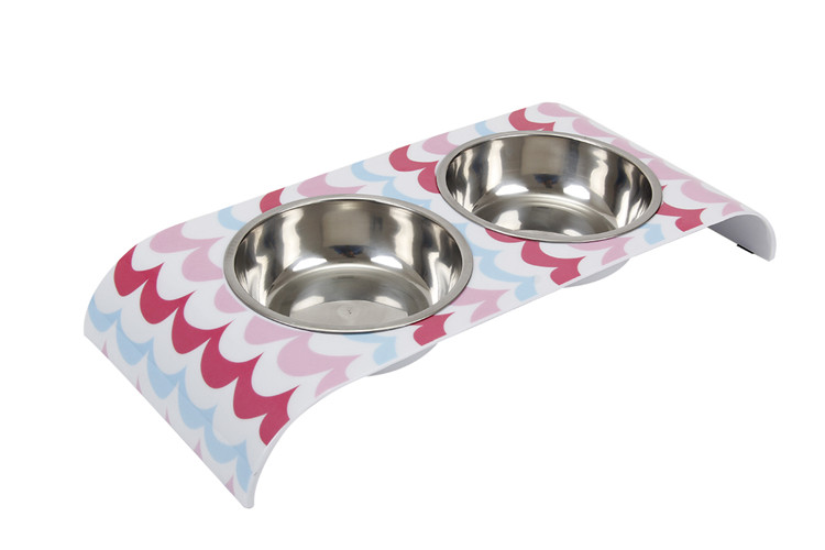 Customized Colorful printed double Melamine stainless steel Pet dog Bowl