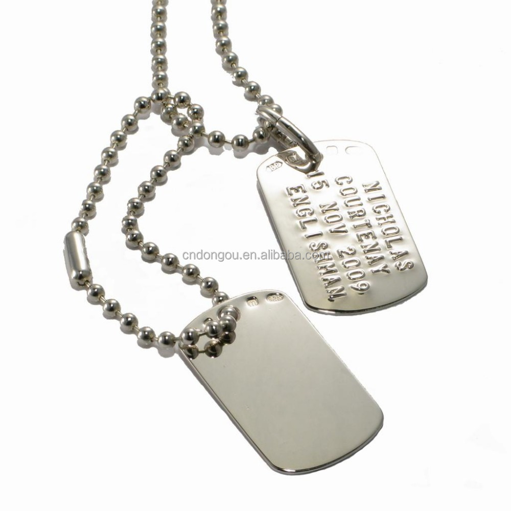 Custom engraved logo stainless steel metal dog tags