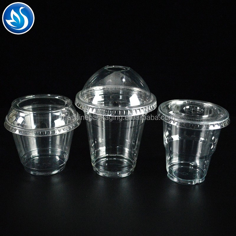 Custom printed clear transparent disposable PP PET plastic cup with lid